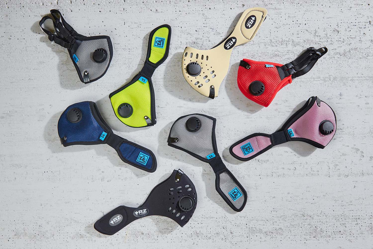 Various colors and styles of RZ Mask filtered face protector for Covid
