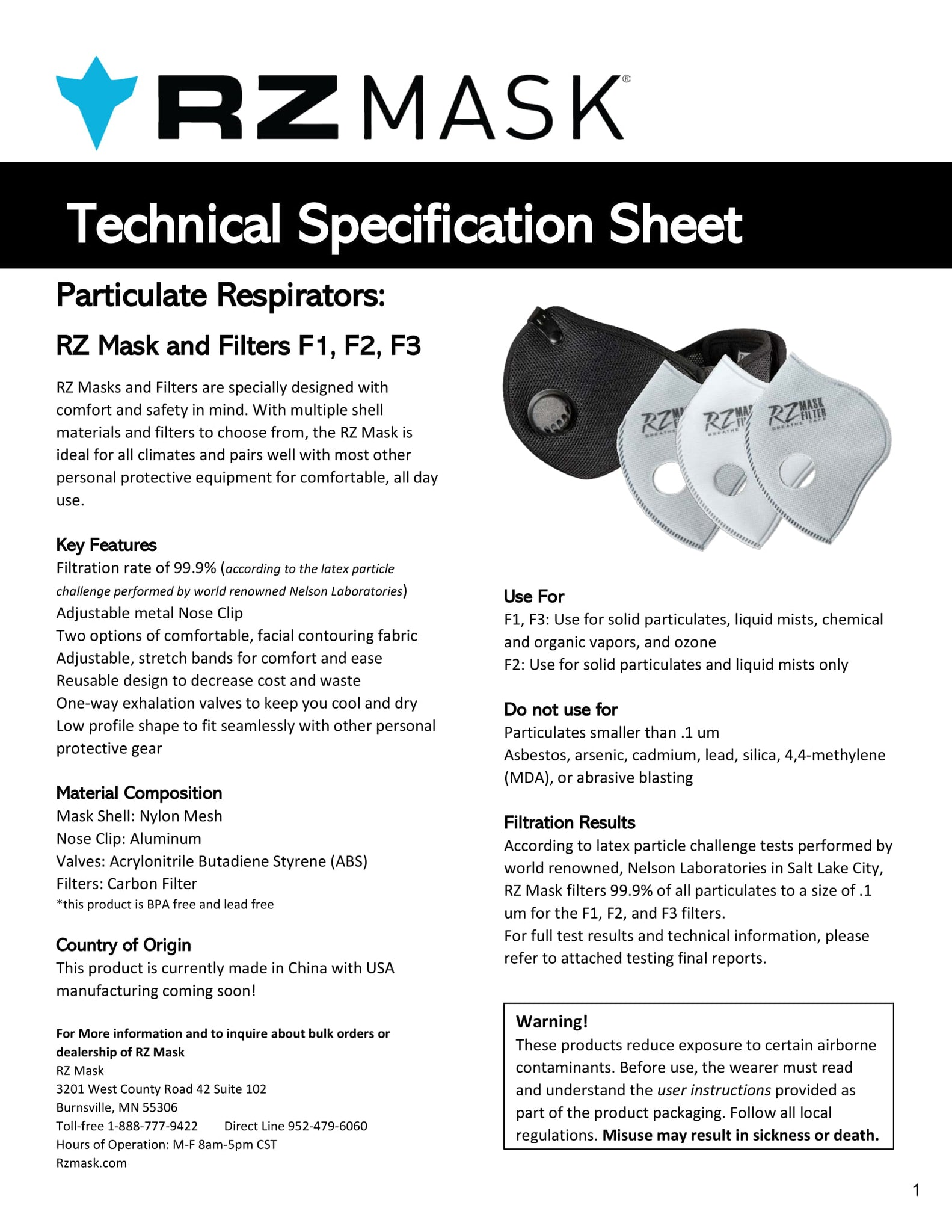 Mask Rz Mask - Specifications - Specifications Rz Mask