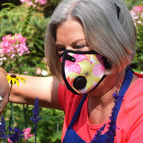 Woman gardening in RZ inspirational design mask