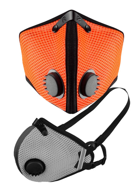 M2.5 Mask Front in Safety Orange and Side view in Titanium