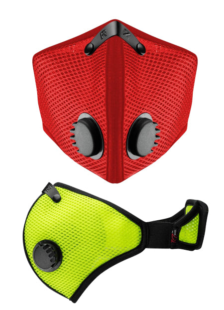 M2 Mask Front in Red and side view in Safety Green