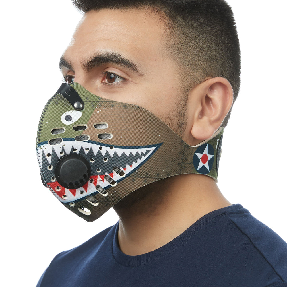 Angled view of man wearing RZ M1 Neoprene P40 shark tooth mask shell