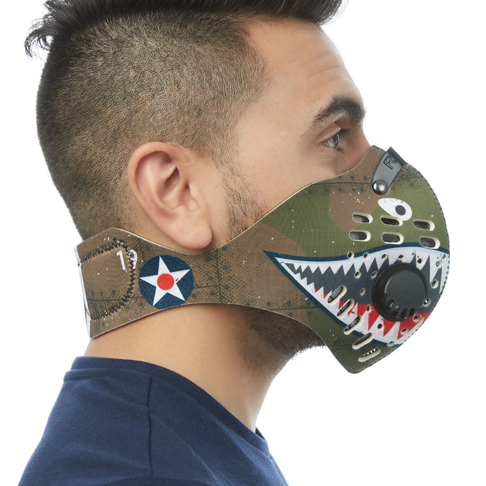 Side view of man wearing RZ M1 Neoprene P40 shark tooth mask shell