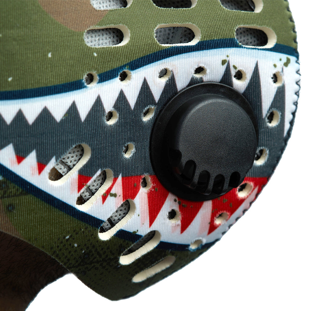 One way exhalation valve on P40 shark tooth RZ M1 Neoprene mask shell