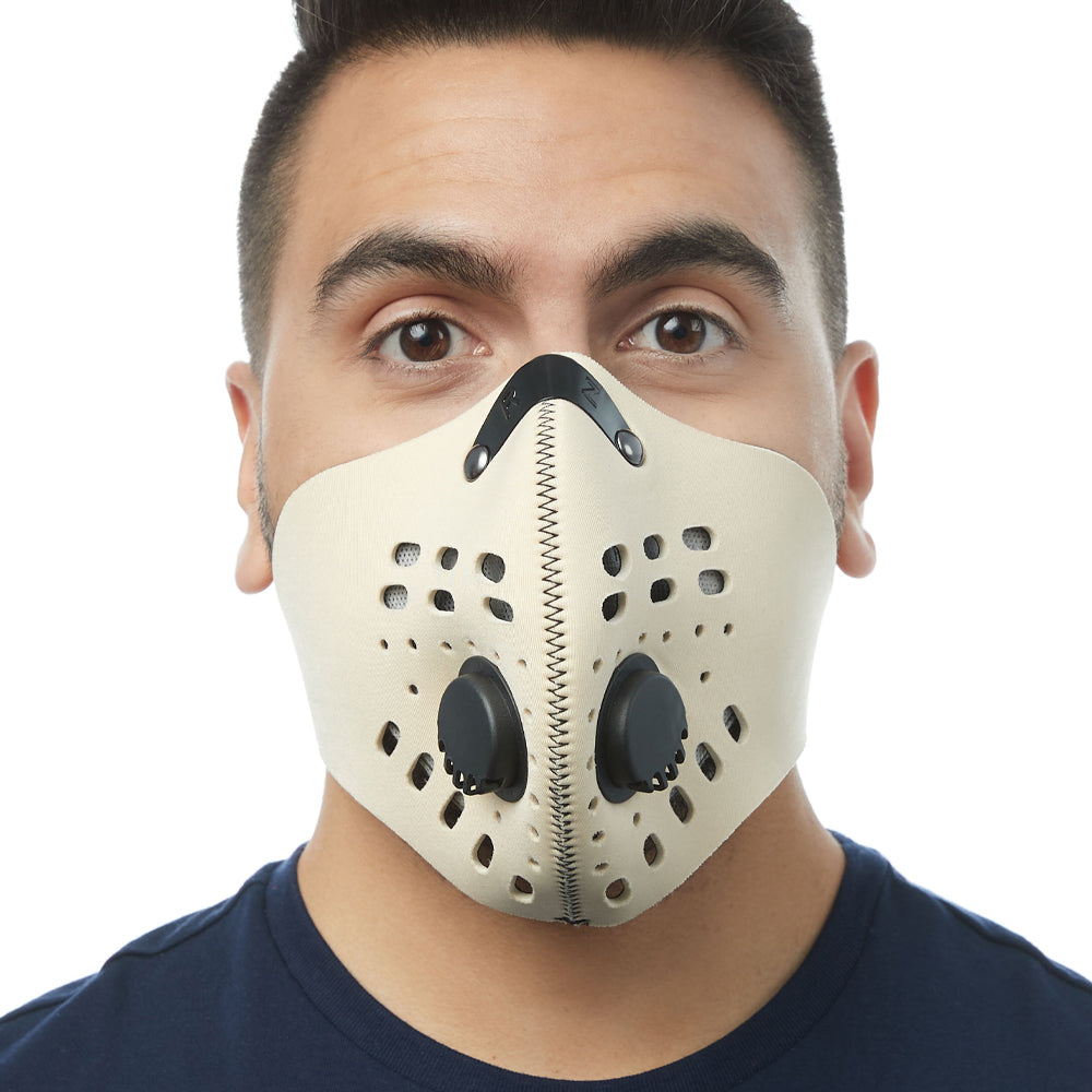 Front view of man wearing RZ M1 Neoprene tan face mask