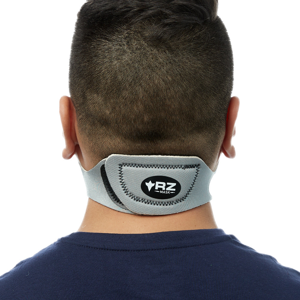 Rear view of man wearing silver RZ M1 Neoprene face mask