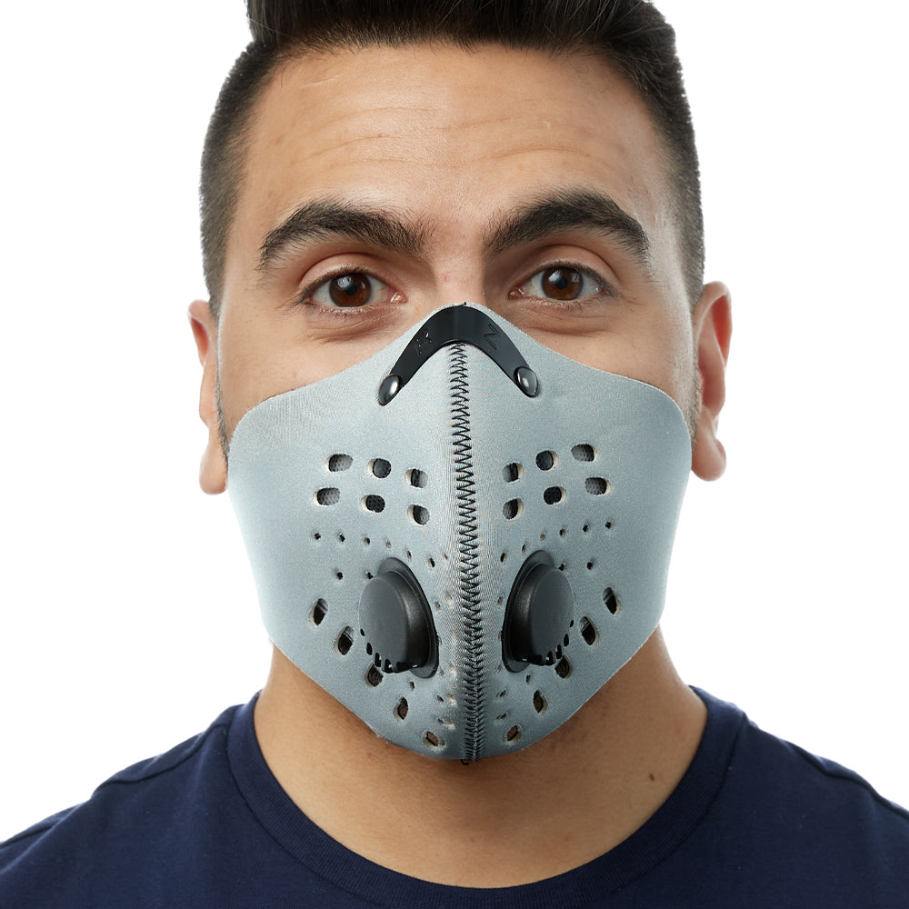 Front view of man wearing silver RZ M1 Neoprene face mask
