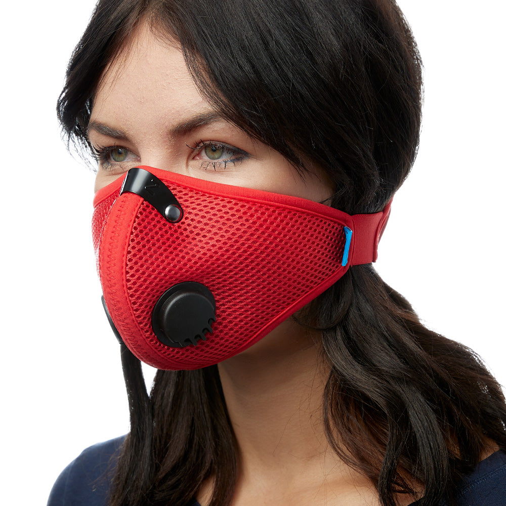 Angled view of woman wearing red RZ M2 Mesh face mask