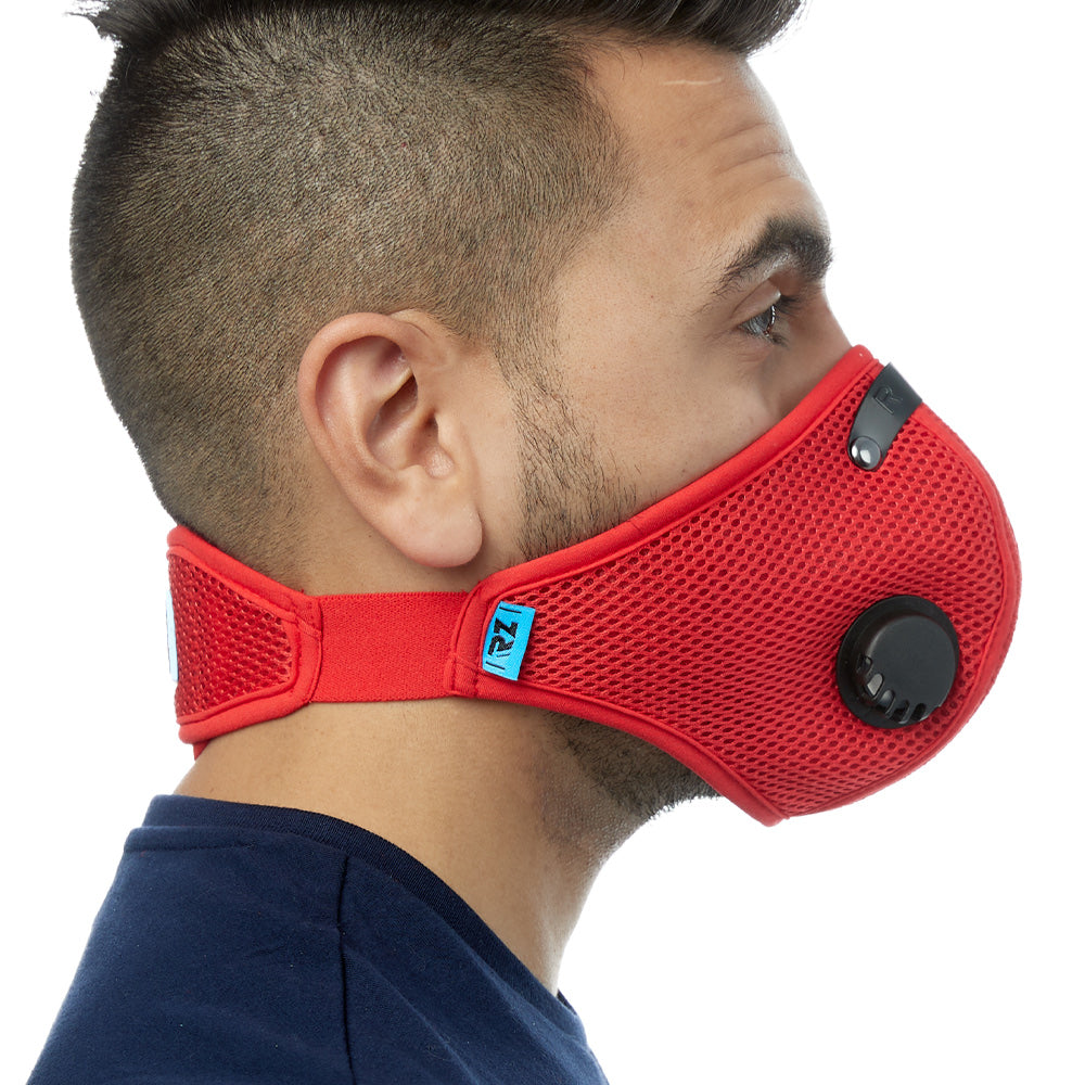 Side view of man wearing red RZ M2 Mesh face mask
