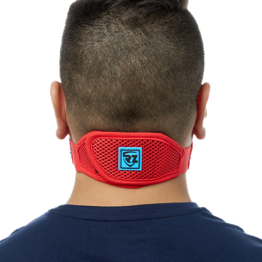 Rear view of man wearing red RZ M2 Mesh face mask