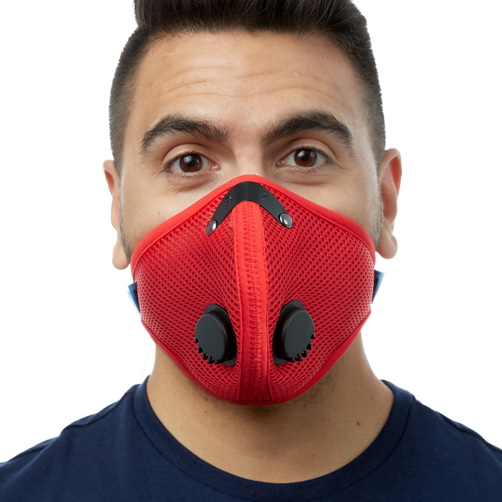 Front view of man wearing red RZ M2 Mesh face mask