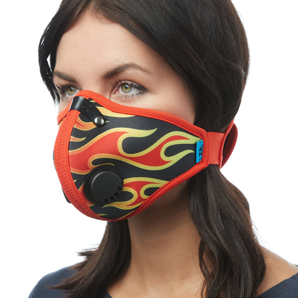 Angled view of woman wearing flame RZ M2 Nylon face mask