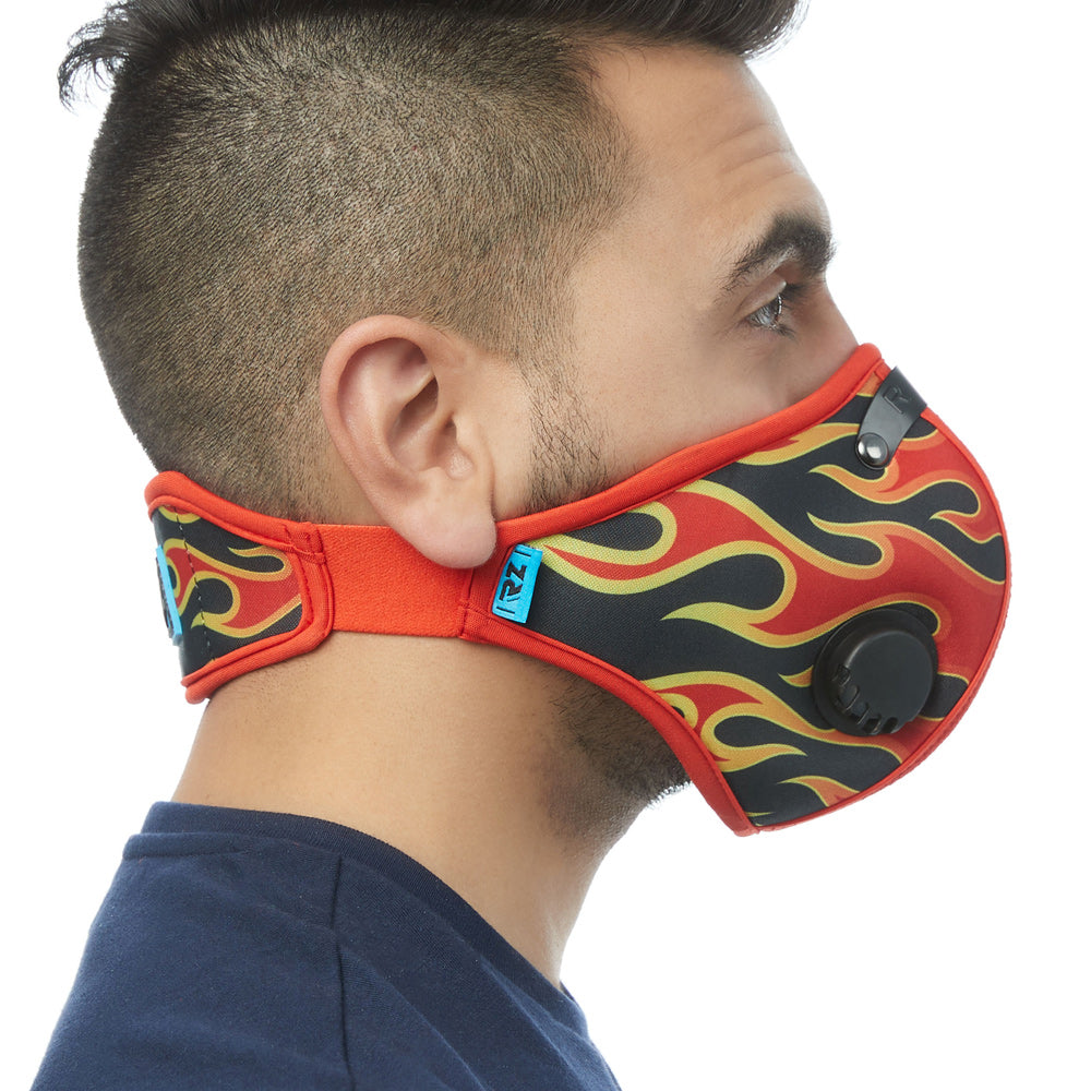 Side view of man wearing flame RZ M2 Nylon face mask