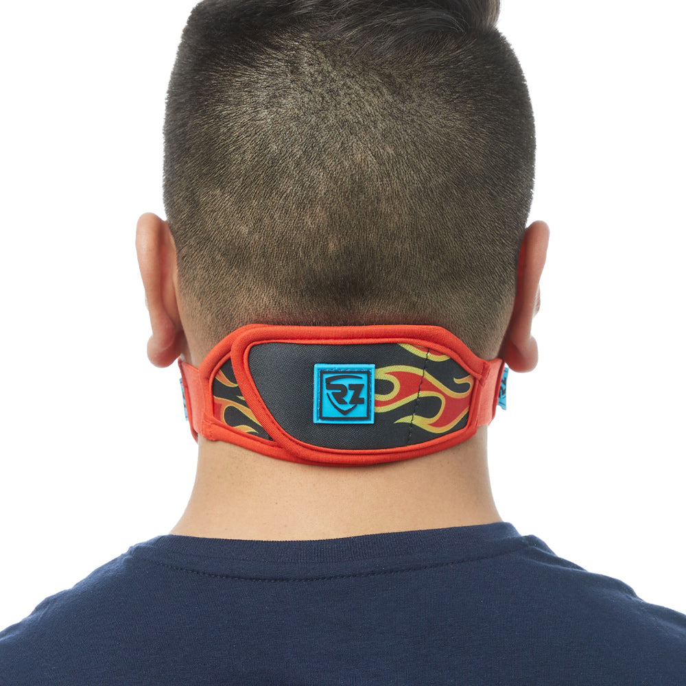 Rear view of man wearing flame RZ M2 Nylon face mask