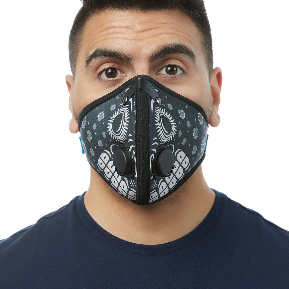 Front view of man wearing RZ M2 Nylon Day of the Dead Black mask shell