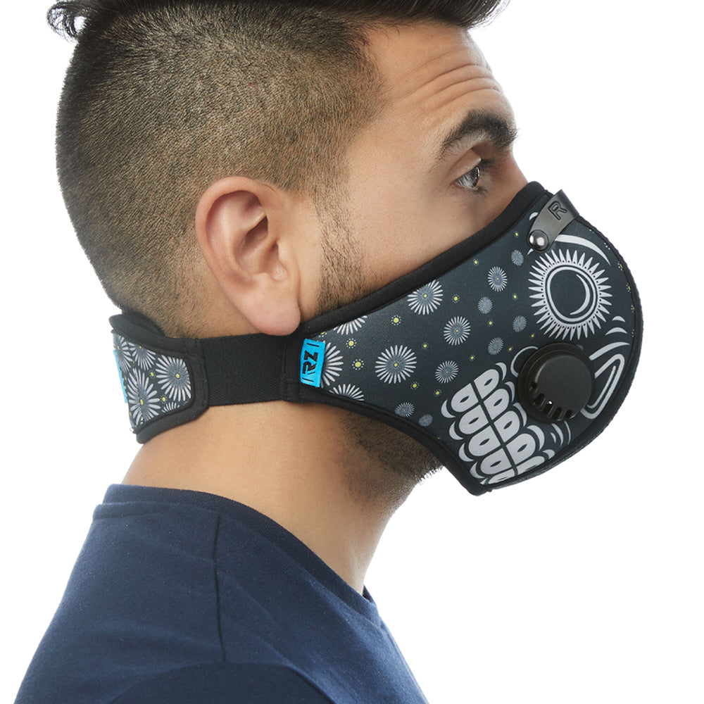 Side view of man wearing RZ M2 Nylon Day of the Dead Black mask shell