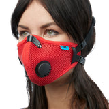 Angled view of woman wearing red RZ M2.5 Mesh face mask