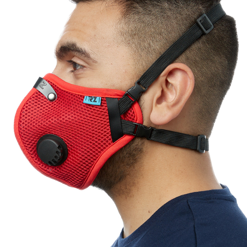 Side view of man wearing red RZ M2.5 Mesh face mask