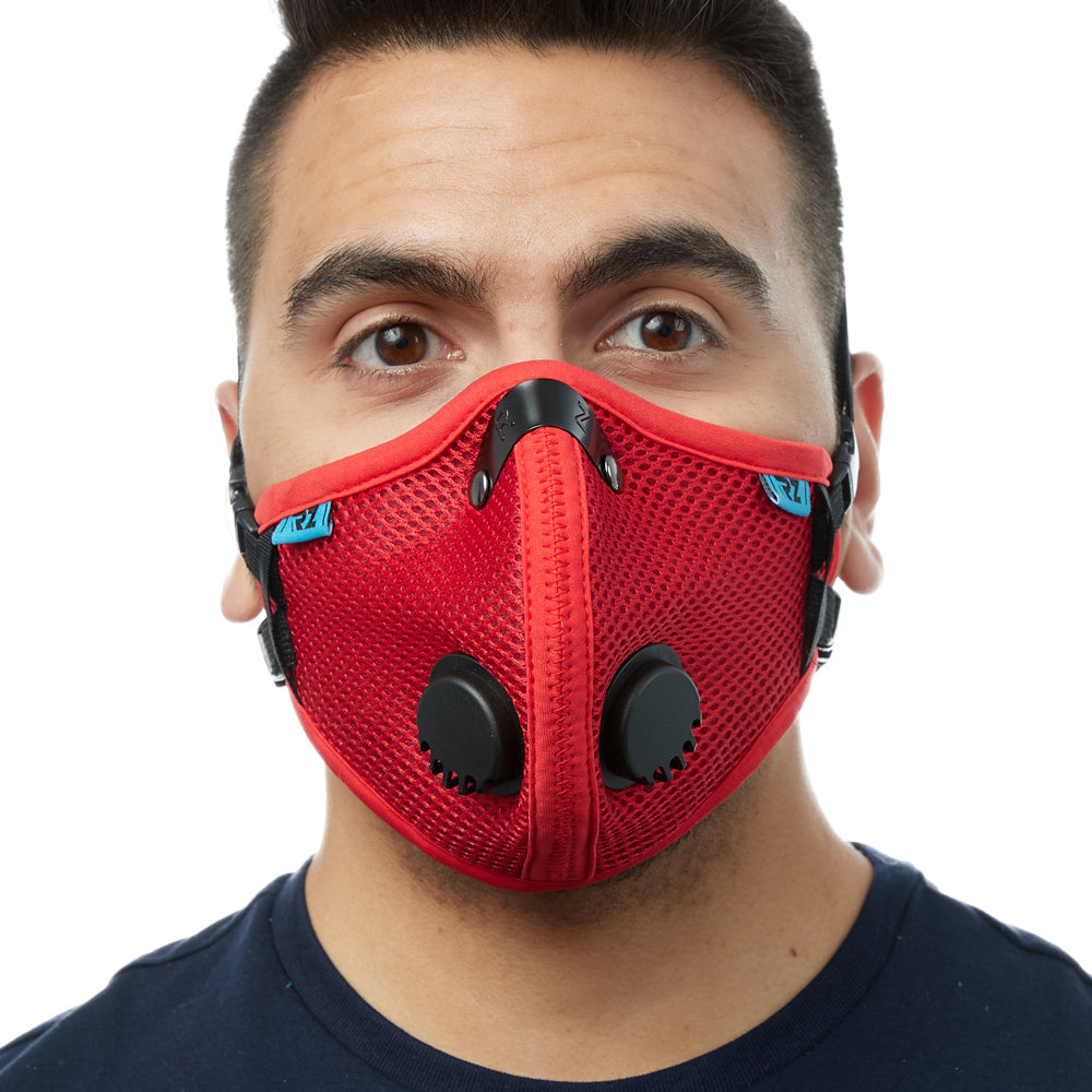 Front view of man wearing red RZ M2.5 Mesh face mask