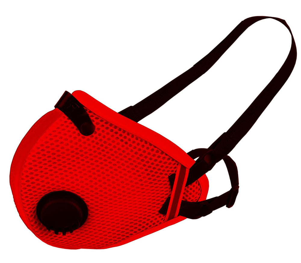 RZ M2.5 Mesh red face mask on white background side view