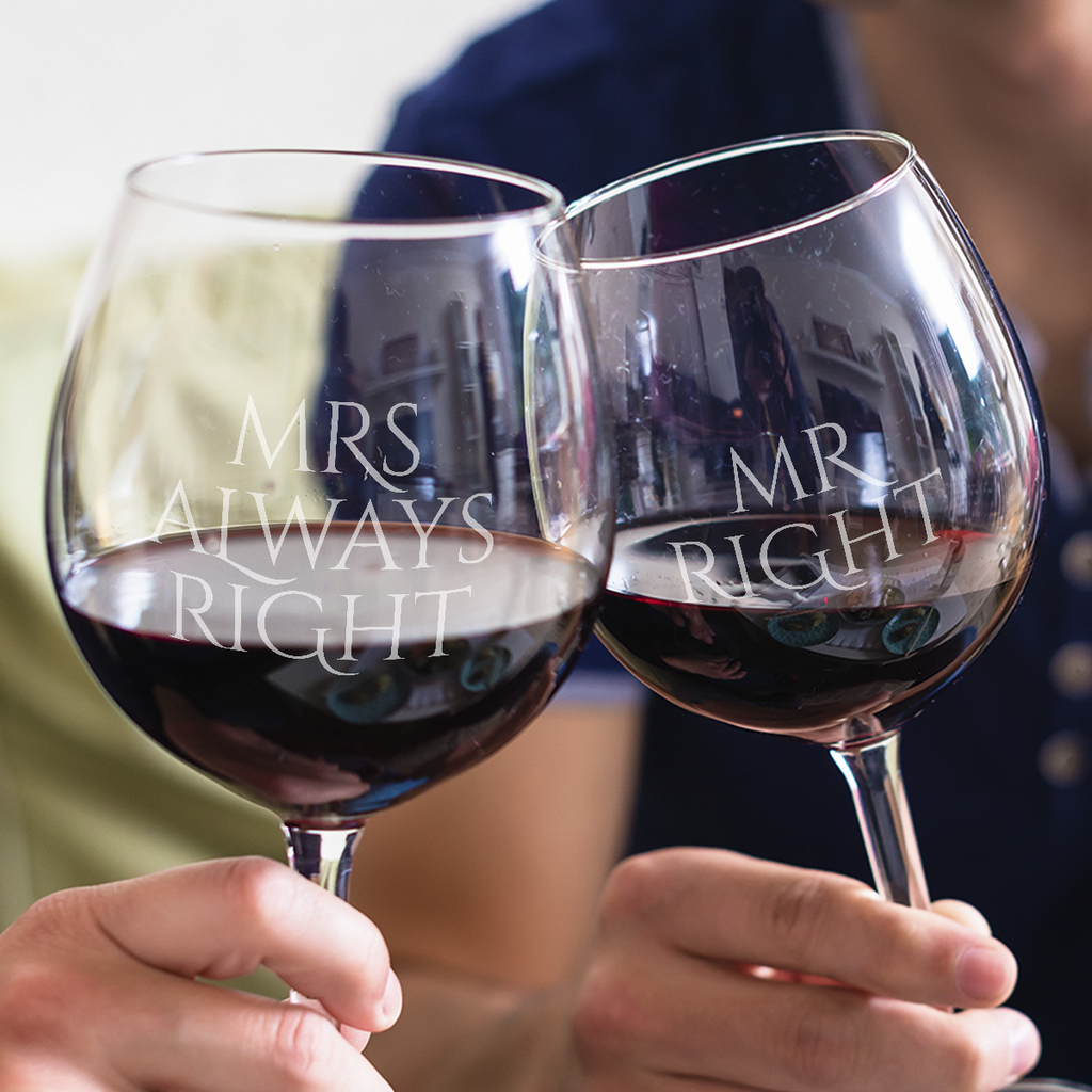 Mr. Right, Mrs. Always Right Wine Glasses