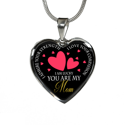 Lucky You Are My Mom Hearts Necklace