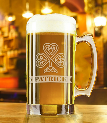 Personalized Celtic Clover Beer Stein