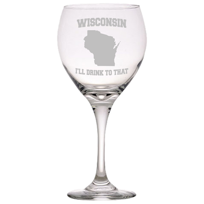 Wisconsin, I'll Drink To That Red Wine Glass