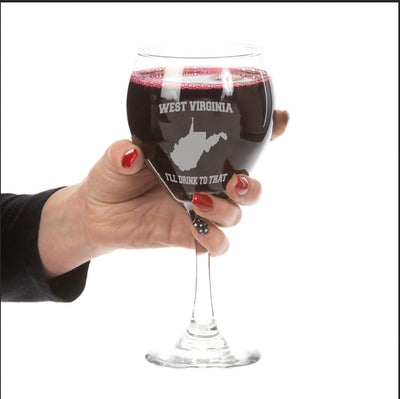 West Virginia, I'll Drink To that Red Wine Glass