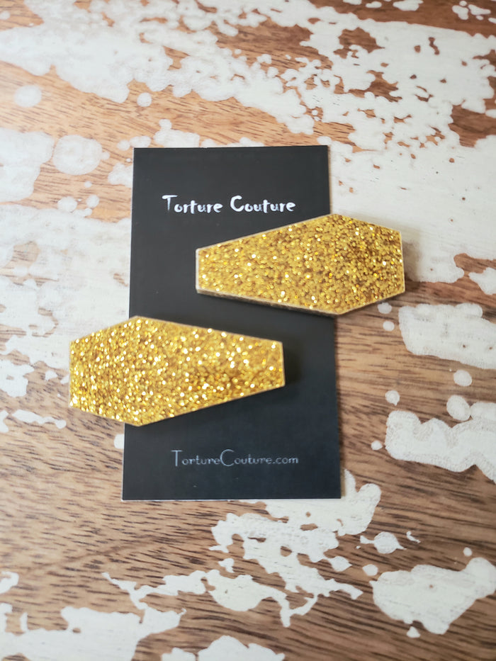 Gold Glitter Coffin Hair Clips
