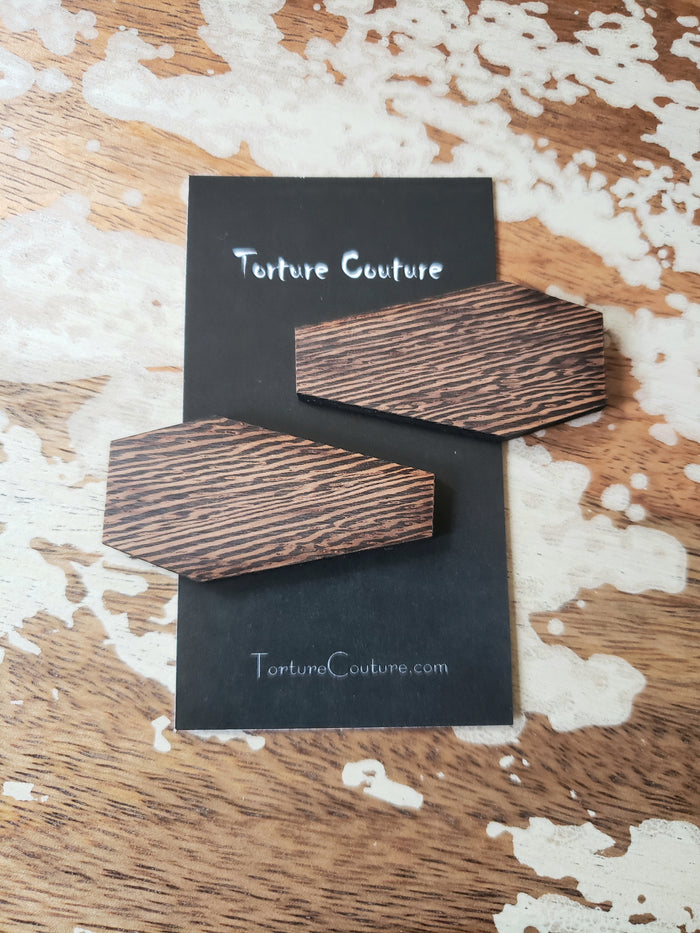 Wooden Coffin Hair Clips
