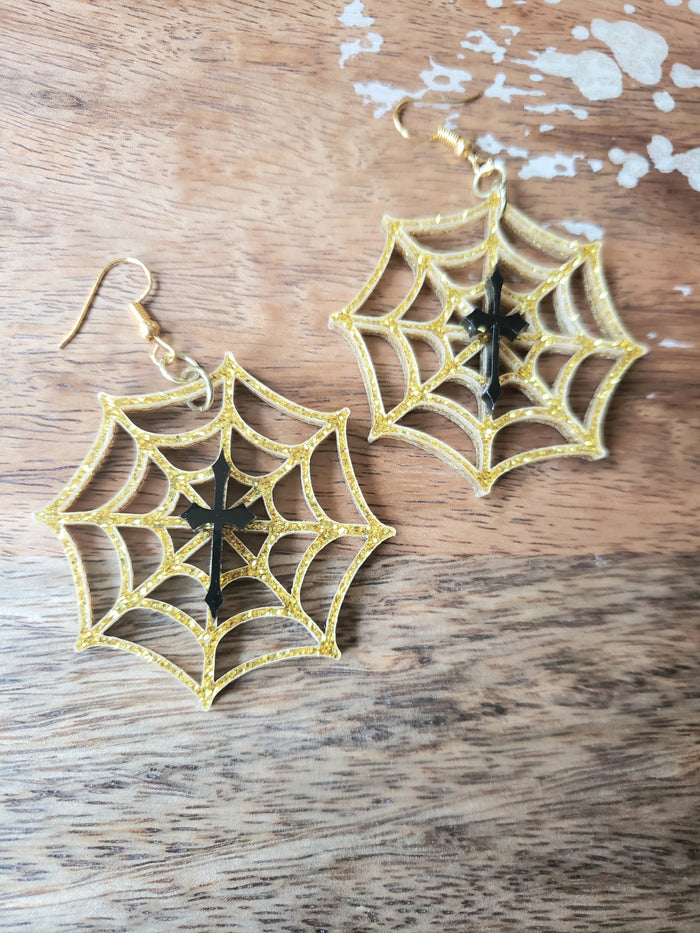 Golden Web Earrings