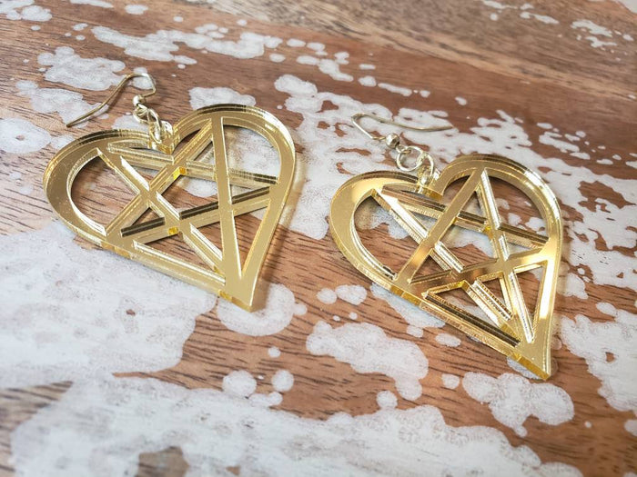 Gold Heartagram Earrings