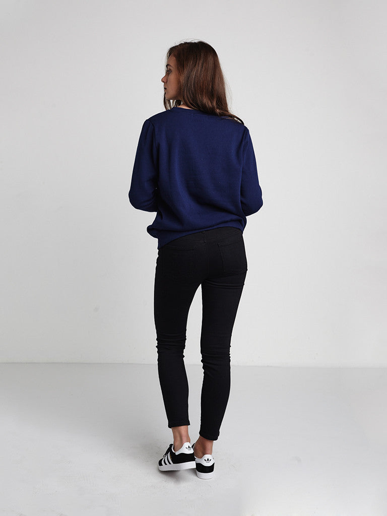 Bold Curve Crewneck Fleece- Navy