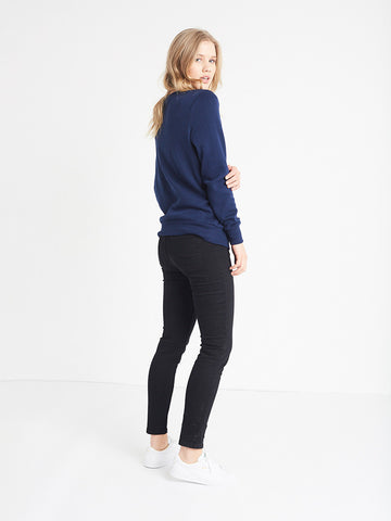 Dual Script Crewneck Fleece- Navy