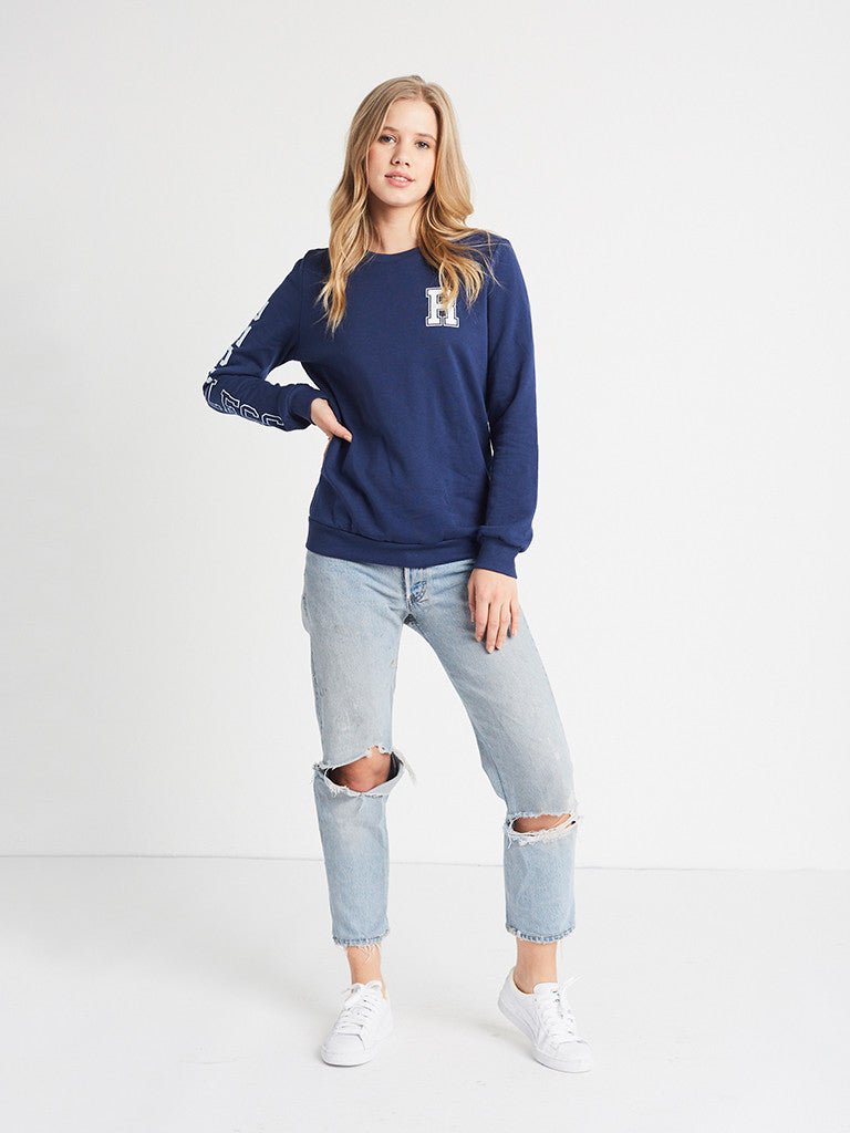 Varsity Player Crewneck Fleece- Navy