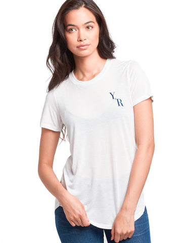 Add Up Long Scoop Tee- White