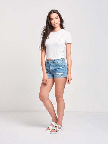Slide By Cropped Pocket Tee- White