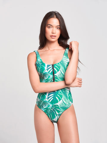 Sophia Reversible One Piece- Forest Green/Tropical Palm