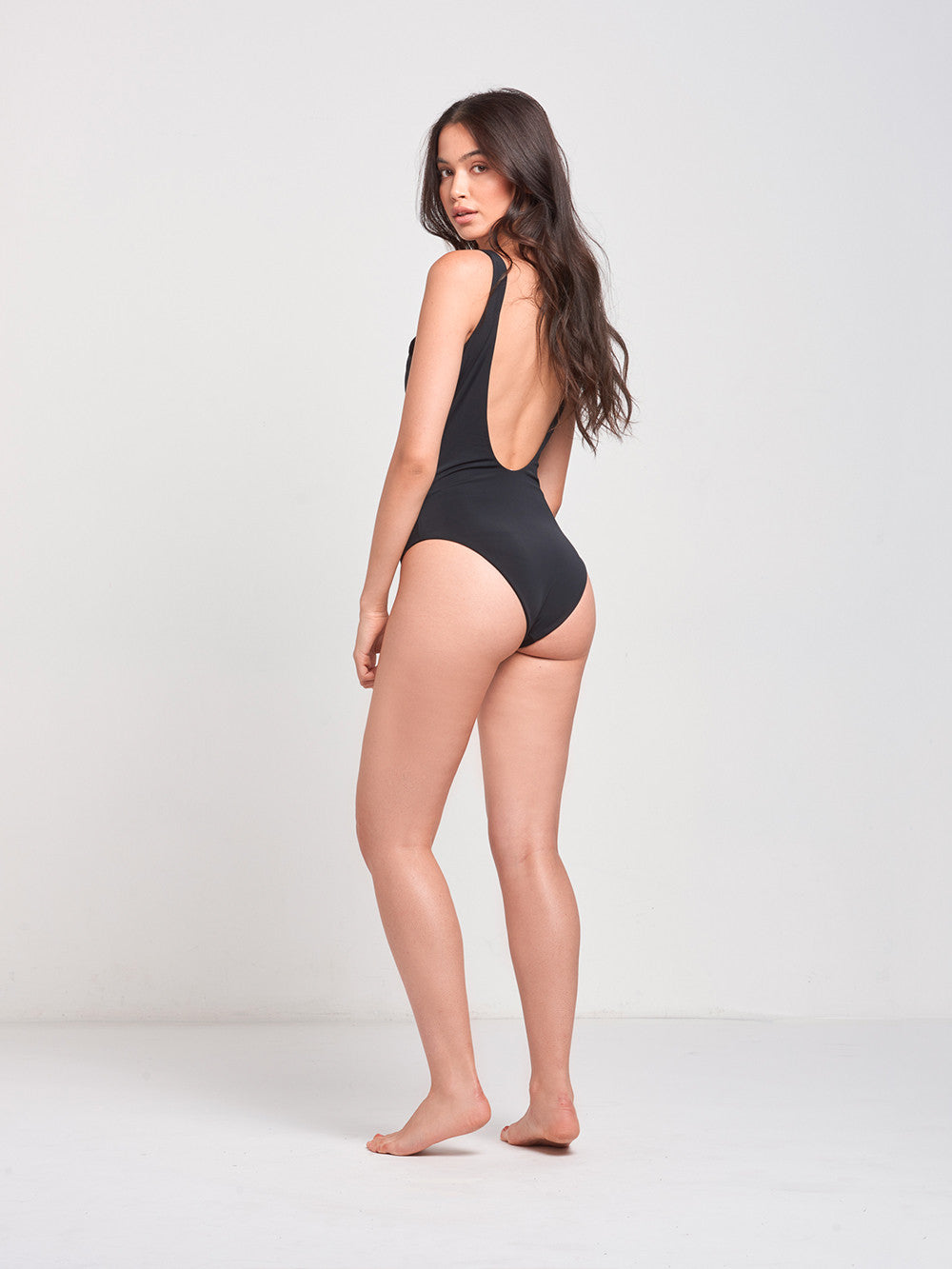 Sandy Lace Up One Piece Swim- Black