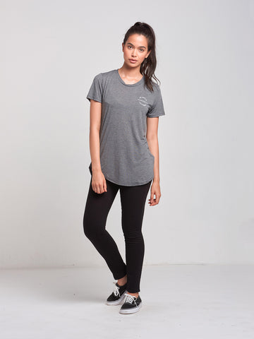 Reckless Native Long Scoop Tee- Charcoal