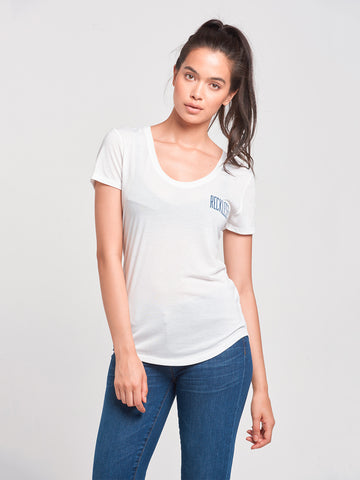 Stand Tall Scoop Neck Tee- White