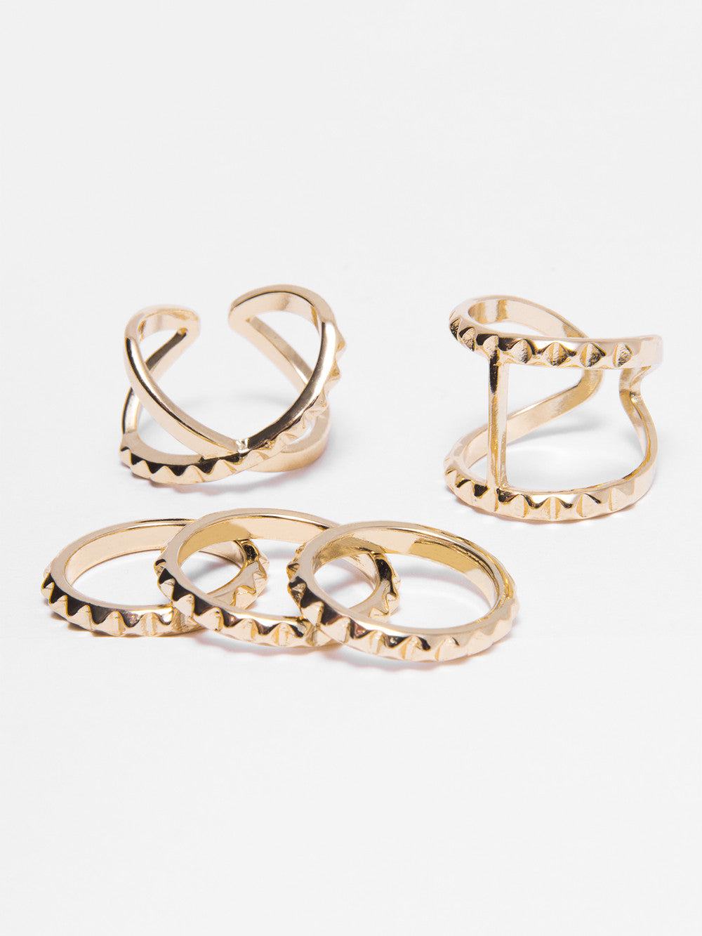 Gold Pyramid Rings