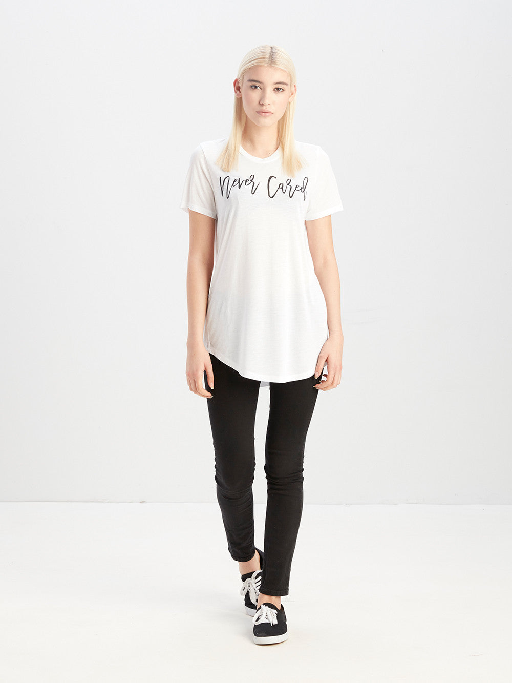 Never Cared Long Scoop Tee