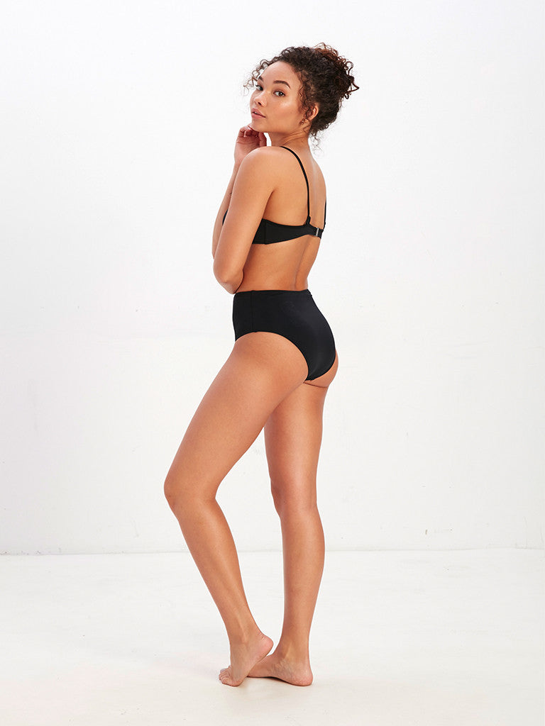 Tyra Solid High Waisted Bikini Bottom - Black