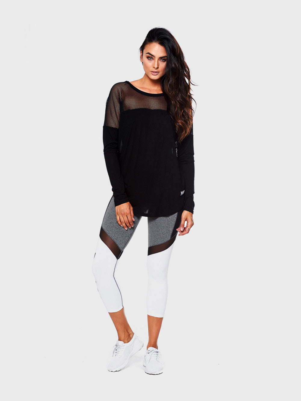 Shutter Contested Long Sleeve with Mesh Top
