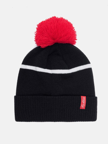 Linear Pom Beanie - Navy/Red