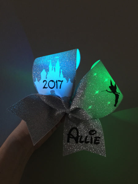 LIGHT UP COLOR CHANGING Personalized Full Silver Glitter Tinkerbell Pixie Dust Disney Castle Cheer Bow