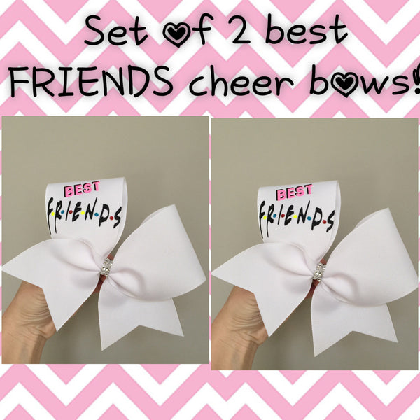 SET OF 2 Best FRIENDS Cheer Bows 2 bows BFF