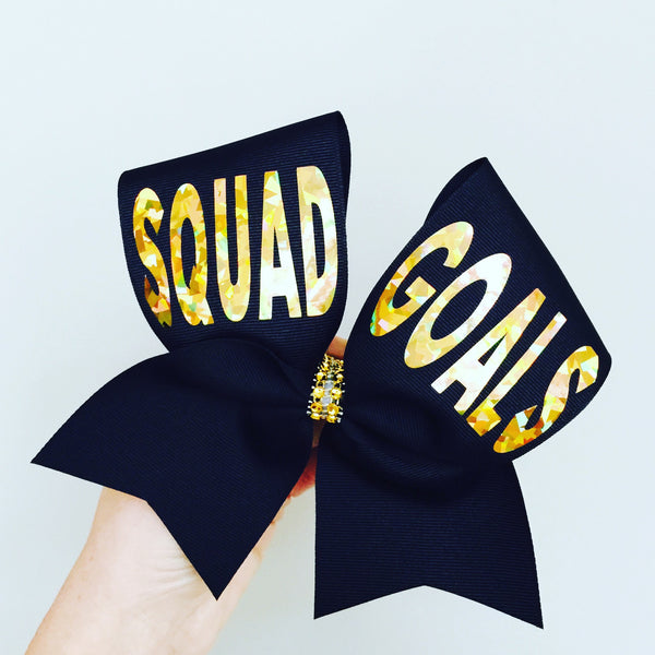 Black and Gold Squad Goals Cheer Bow